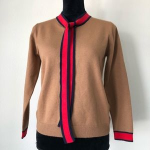 English Factory Tan Red Sweater